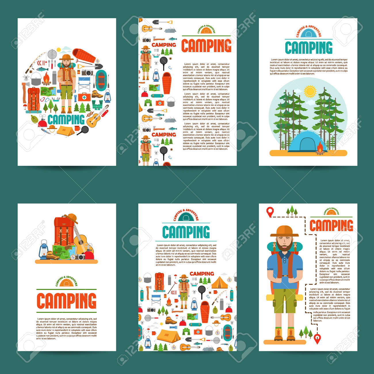 Set of camping cards  Travel hiking infographic background  Layout