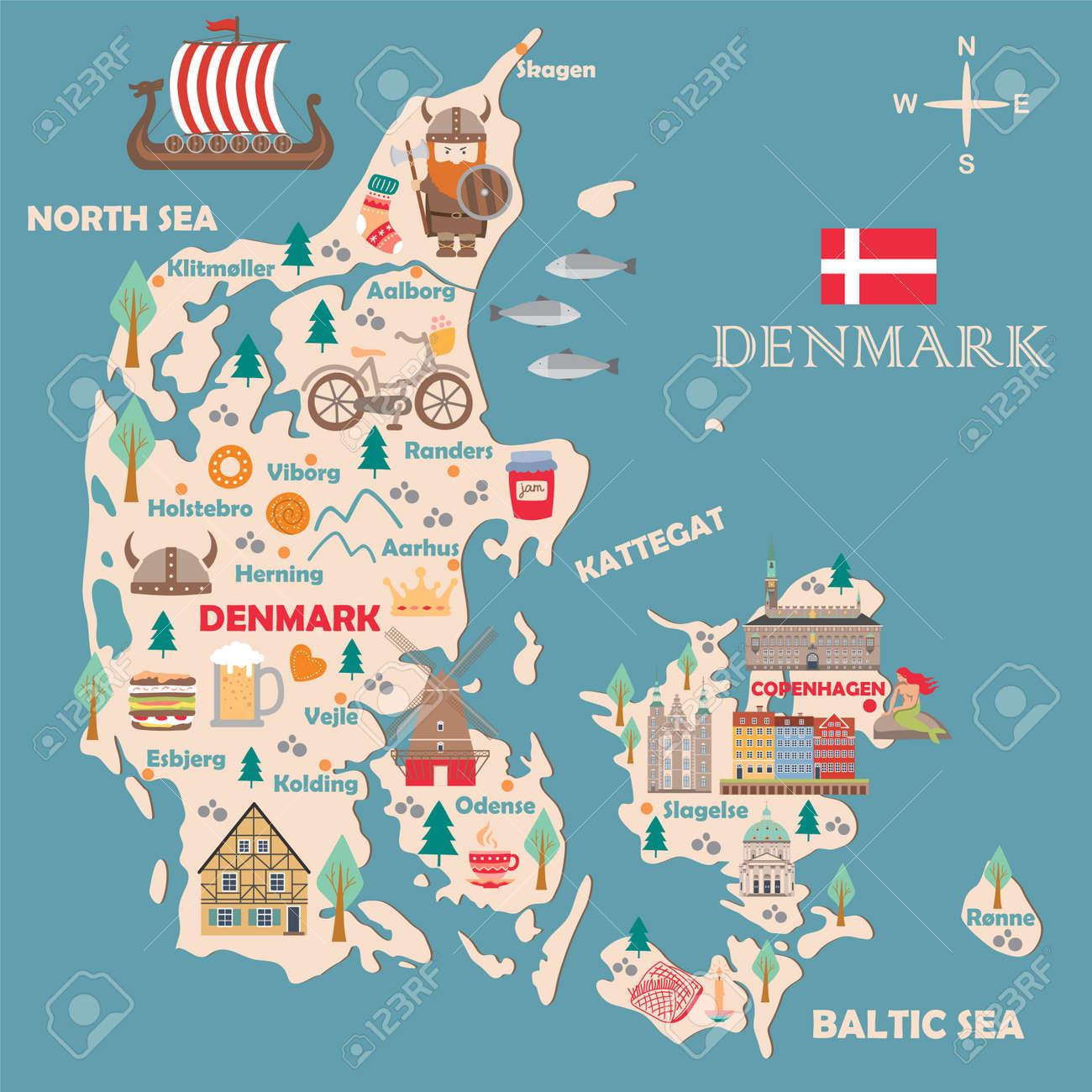 Stylized map of Denmark. Travel illustration with danish landmarks,..