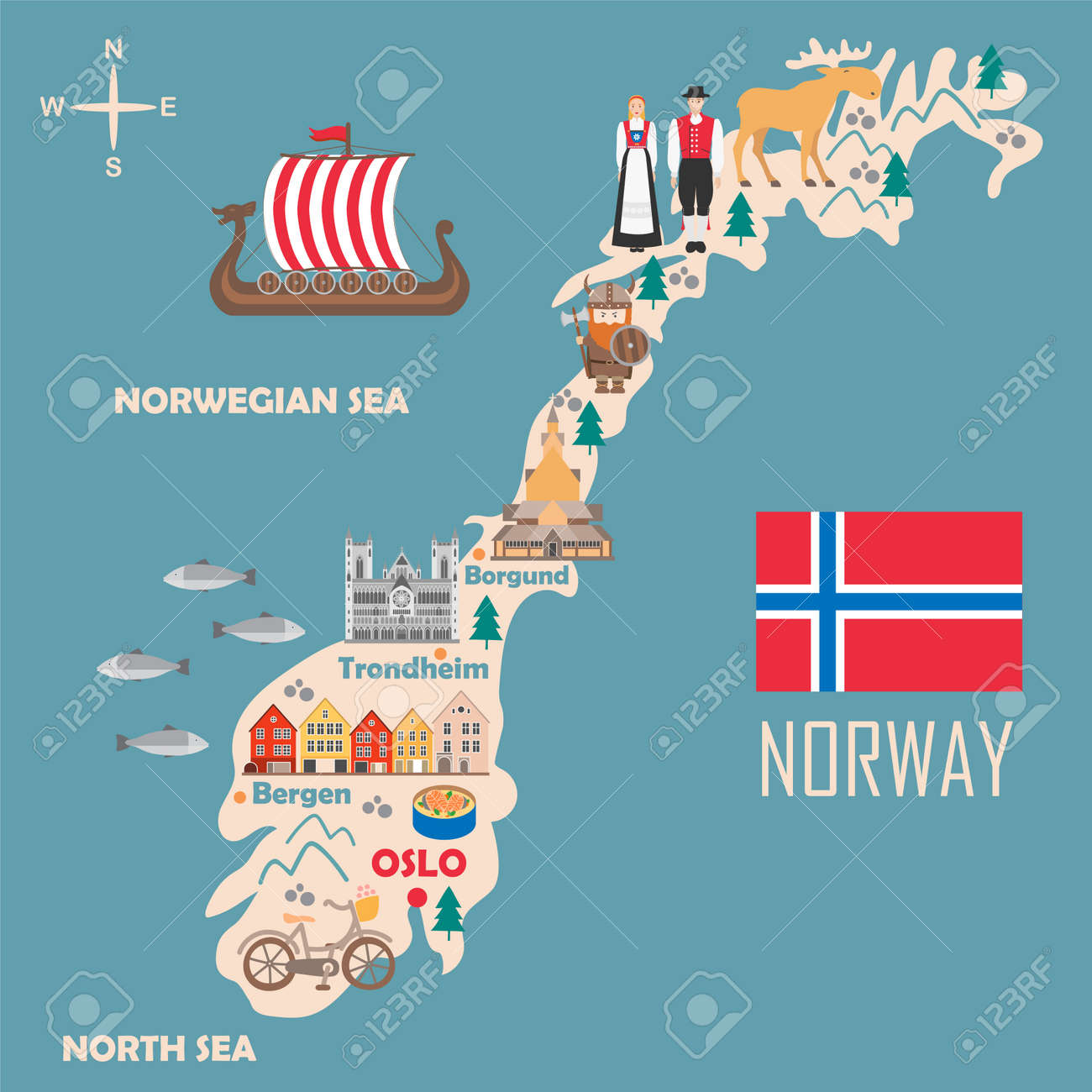 Stylized map of Norway. Travel illustration with norwegian landmarks,..