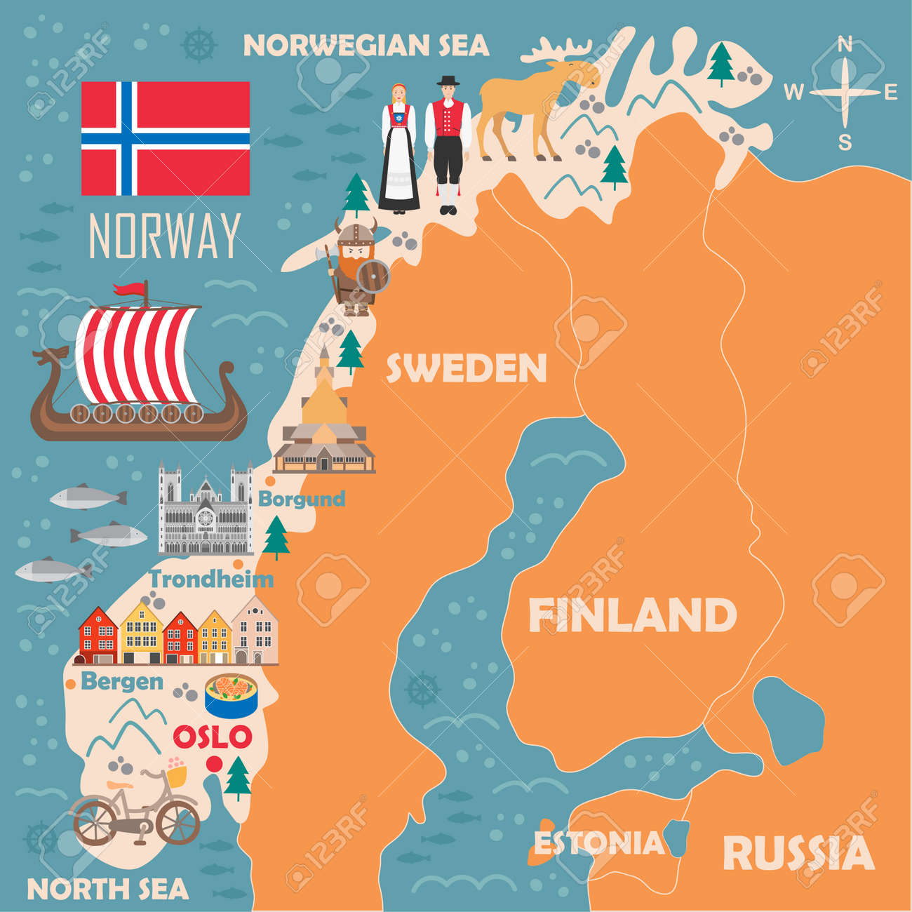 Stylized Map Of Norway. Travel Illustration With Norwegian Landmarks ...