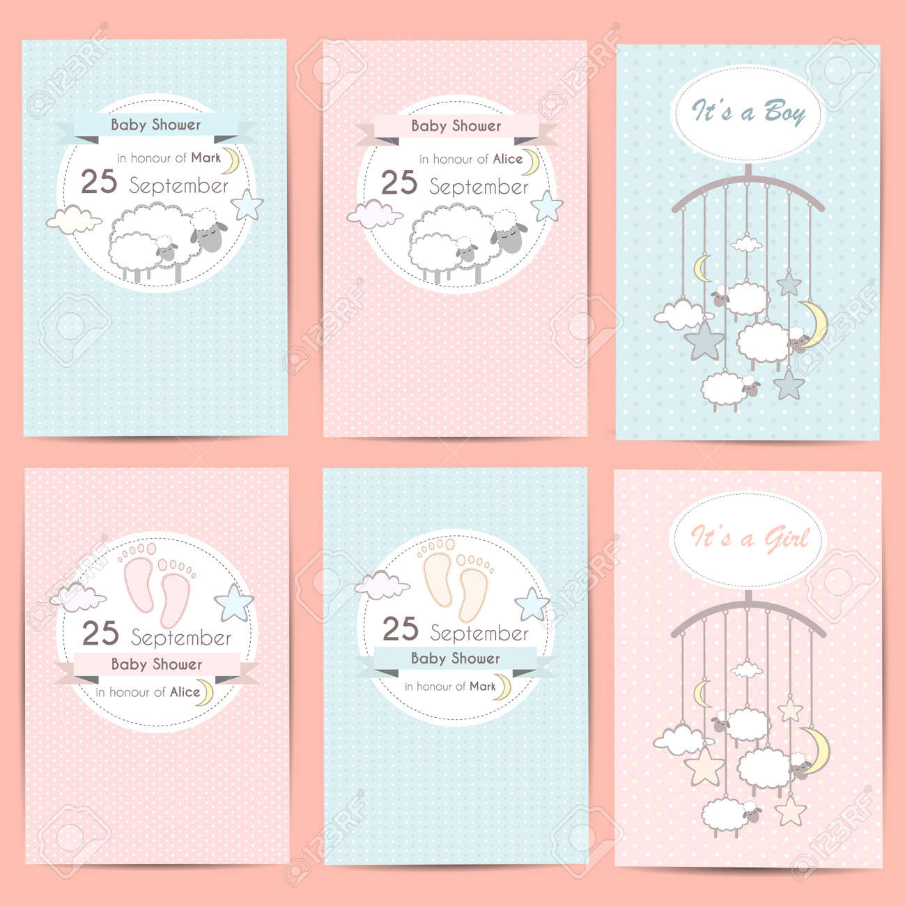 Set Of Baby Shower Boy And Girl Invitation Cards Template For