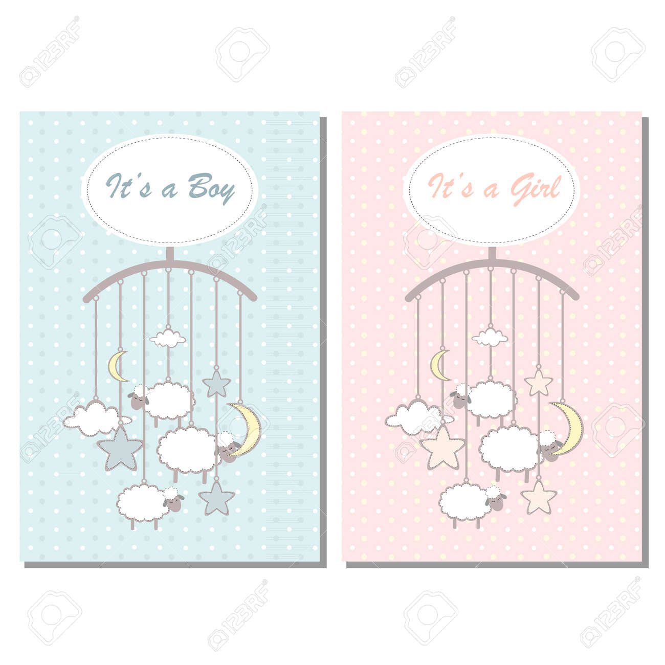 Baby Shower Boy And Girl Invitation Card Template For Scrapbooking With Little Lambs Stars Moon And Clouds Vector Illustration