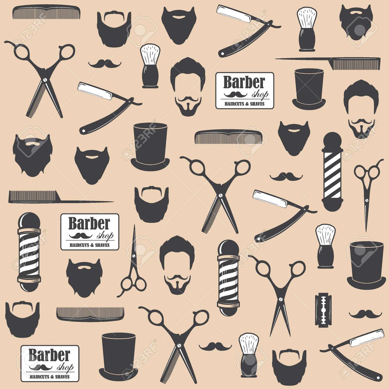 Barber Shop Vintage Seamless Pattern Decorative Wallpaper For