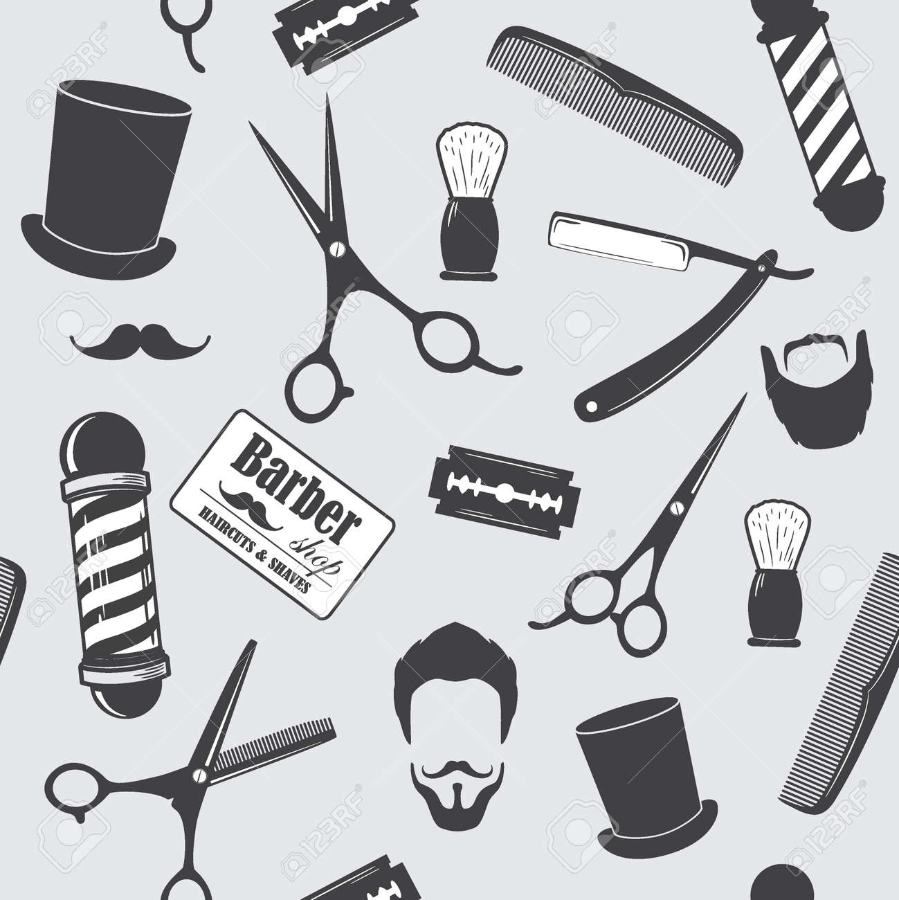 Barber Shop Vintage Seamless Pattern Decorative Wallpaper For