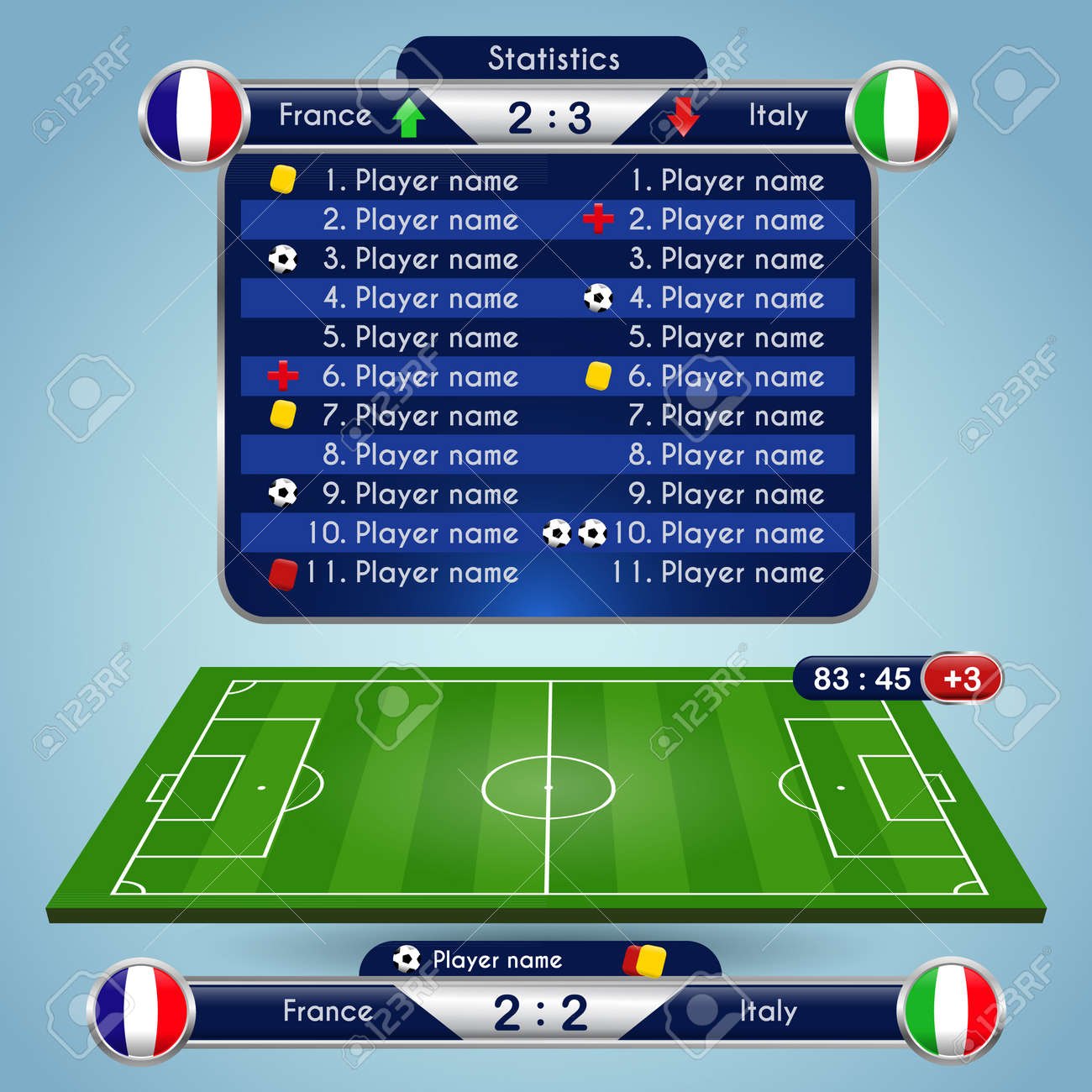Broadcast Graphics for Sport Program  Football Soccer Match Statistics
