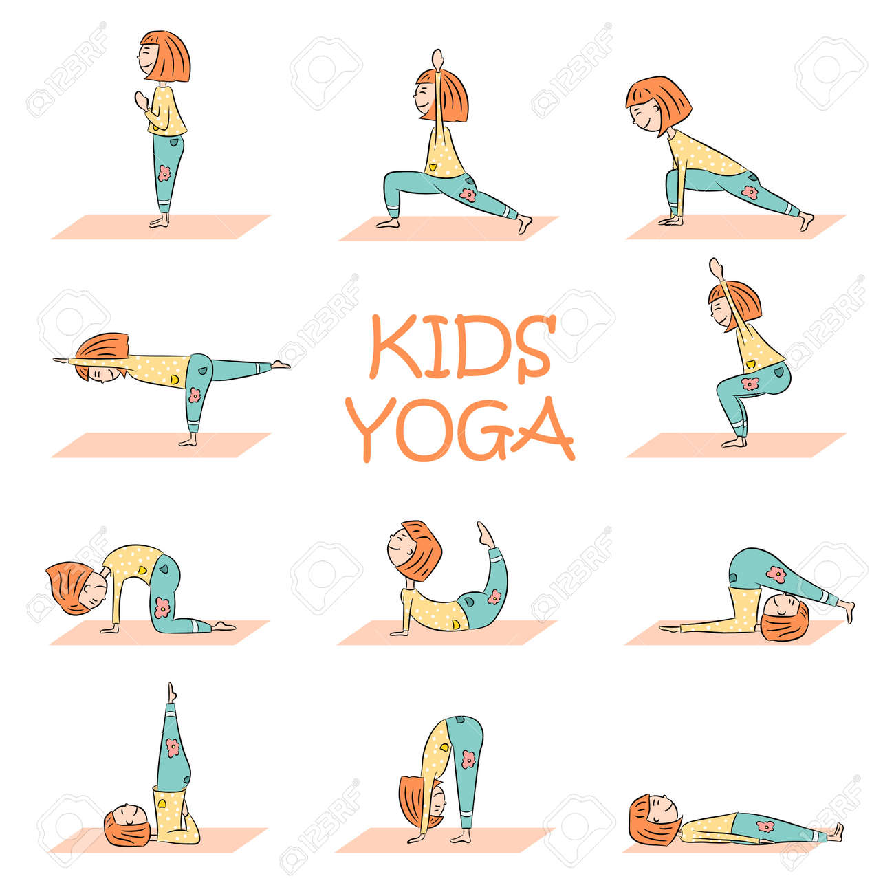 Kids Yoga Set With Cute Cartoon Girl In Different Yoga Poses Royalty Free Cliparts Vectors And Stock Illustration Image 108853333