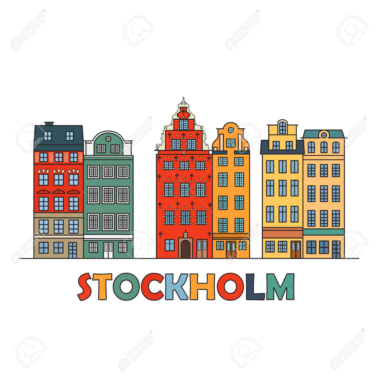 Old town of stockholm sweden travel landmark color icon with