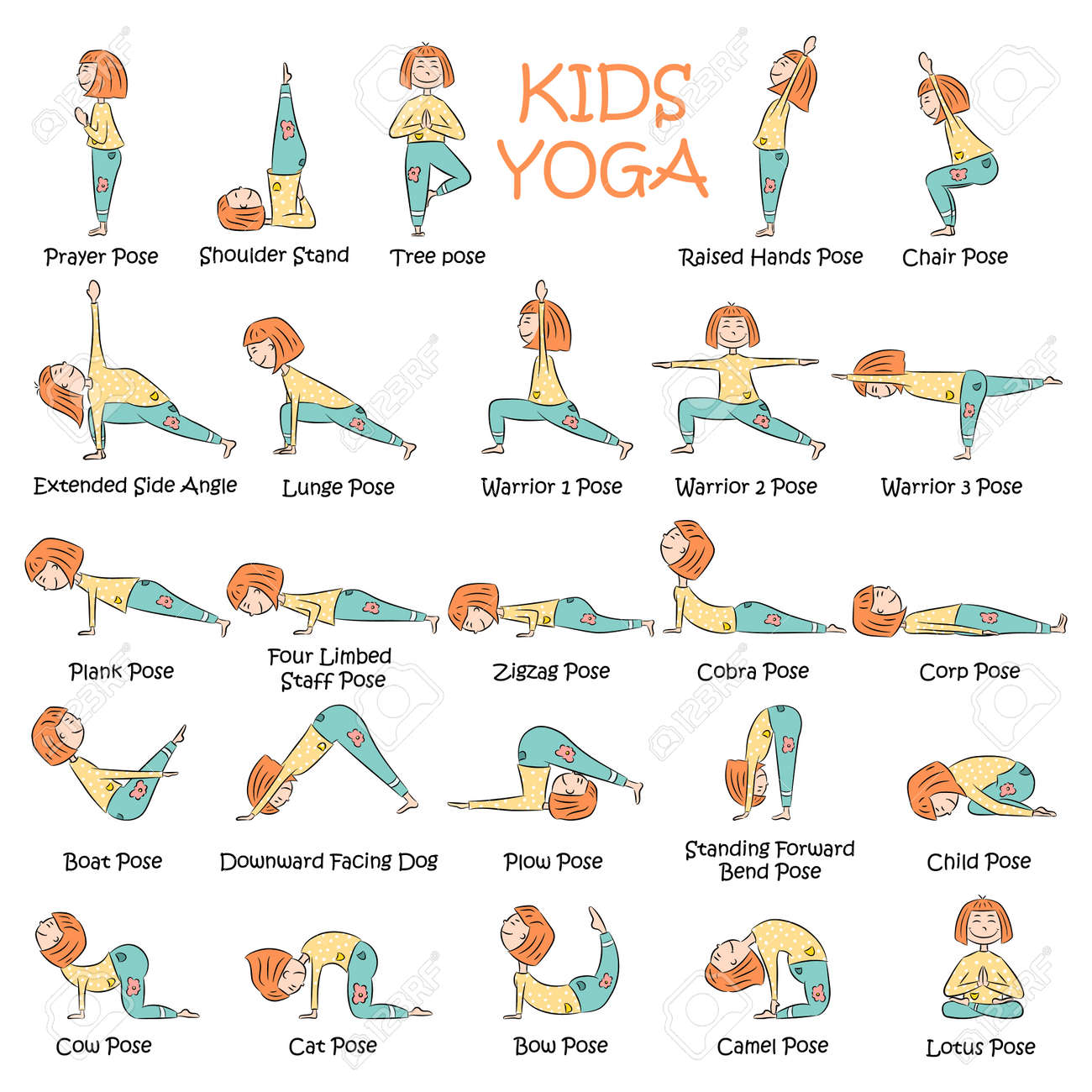 Yoga Kids Set Gymnastics For Children And Healthy Lifestyle Royalty Free Cliparts Vectors And Stock Illustration Image 108853982