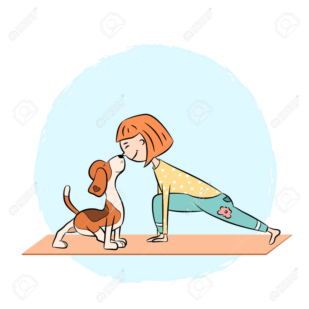 Cartoon Funny Dog Beagle With Girl Doing Yoga Pose Surya Namaskara Royalty Free Cliparts Vectors And Stock Illustration Image 108845343