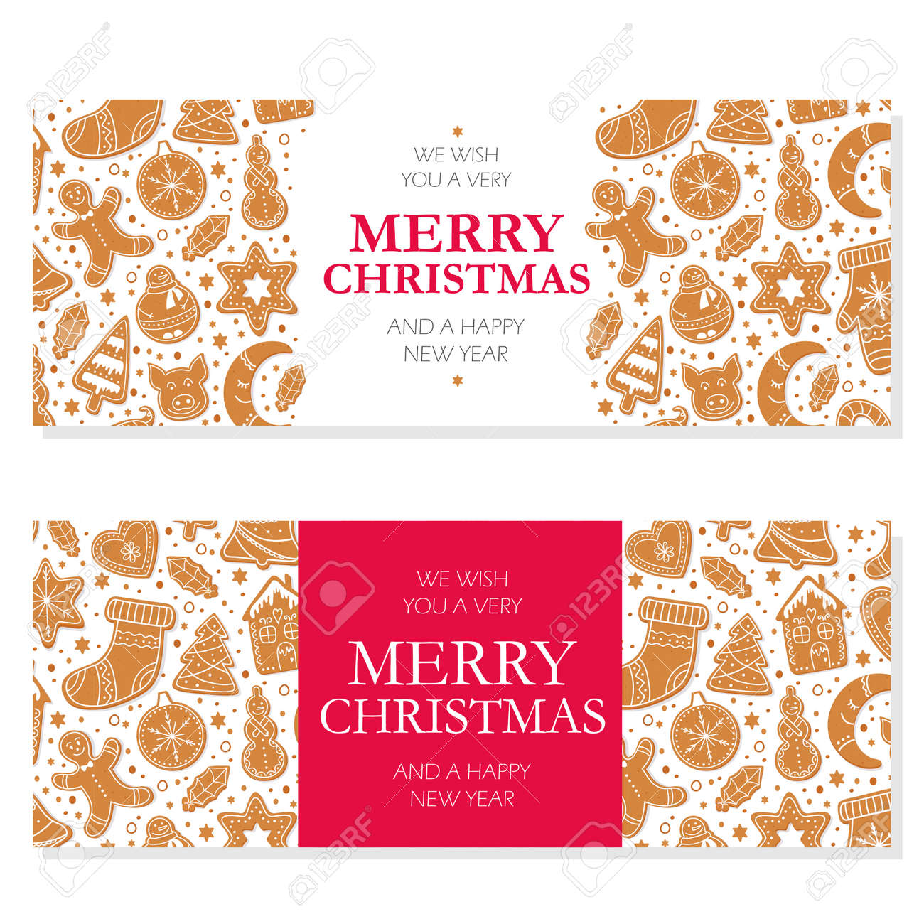 Invitation merry christmas banner and card design template. Homemade gingerbread cookies figures of snowman,