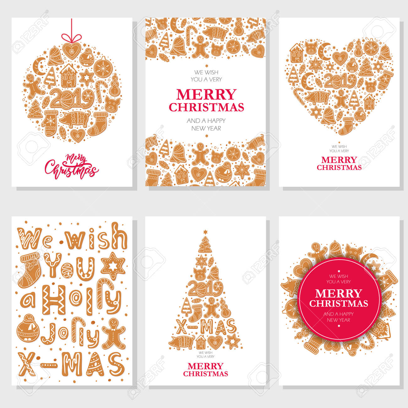 Set Of Christmas Cards With Gingerbread Cookies Figures Of Snowman ...