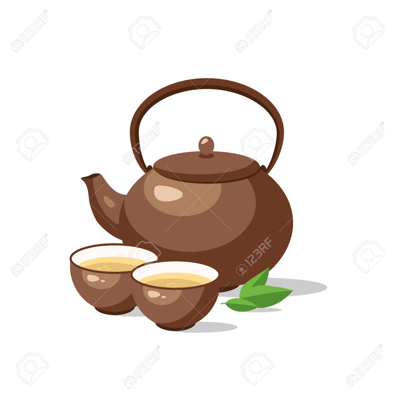 Japanese, chinese tea ceremony set. Ceramic teapot and cup bowls of green tea isolated. Vector illustration. - 126854363