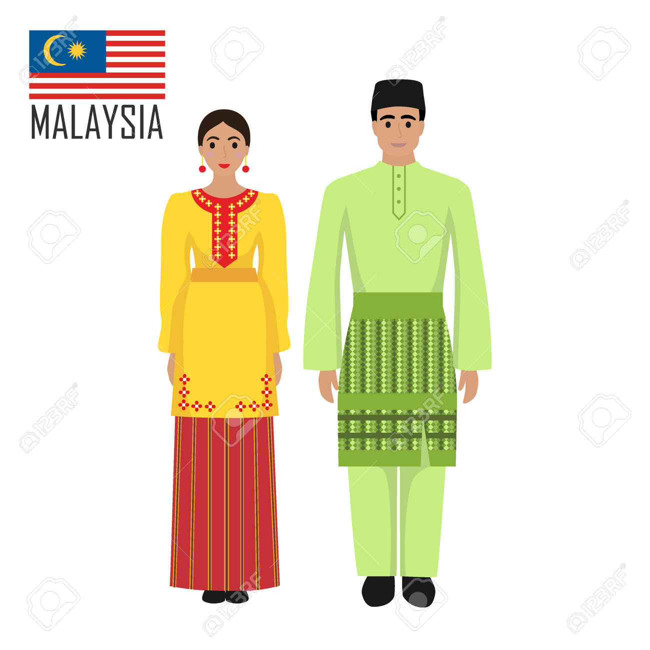Malasian young man and woman in national costume. Malaysia couple wearing traditional costumes. Vector illustration - 140068665