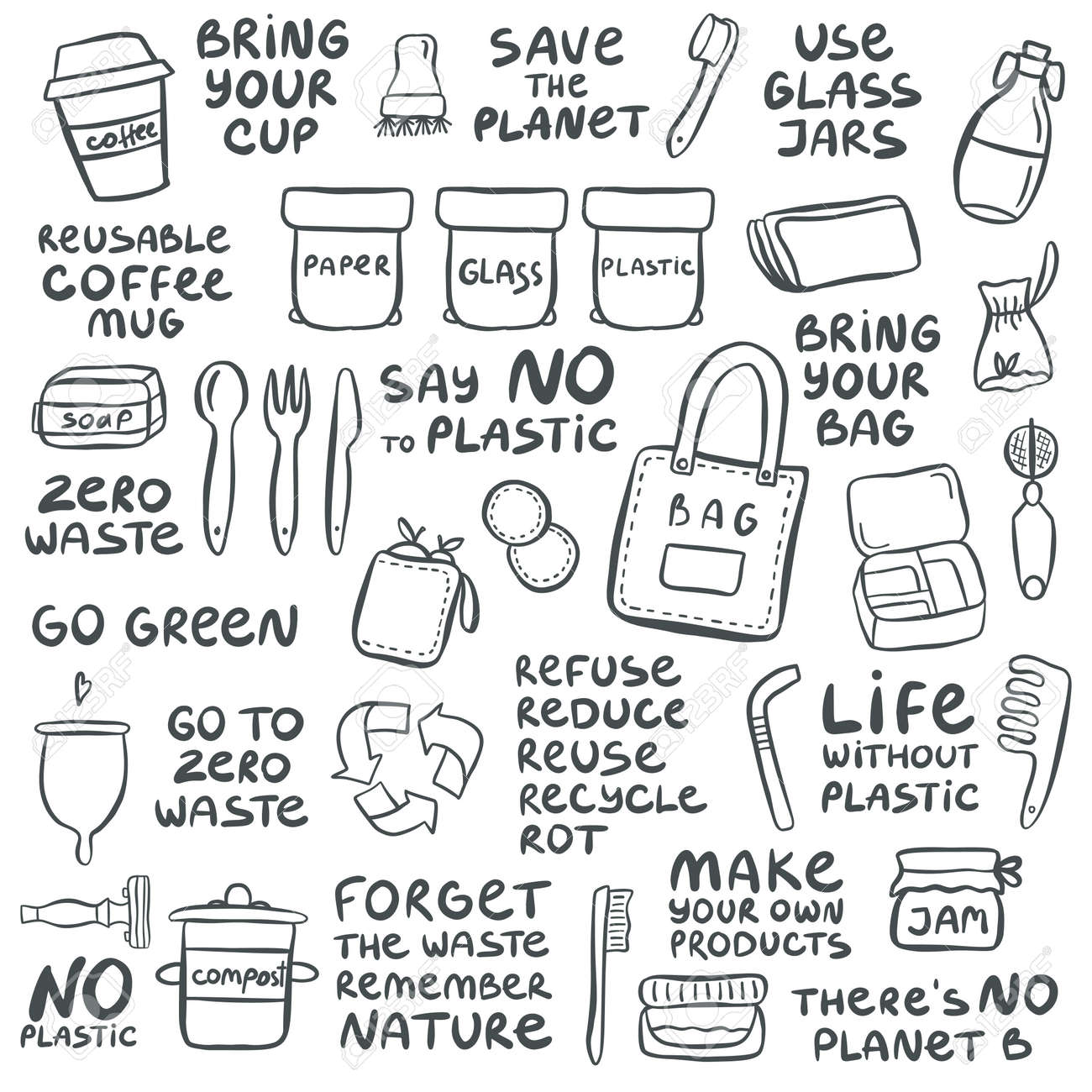 Set of hand drawn elements of zero waste life with lettering slogan. Eco style. No plastic. Vector illustration - 125795953