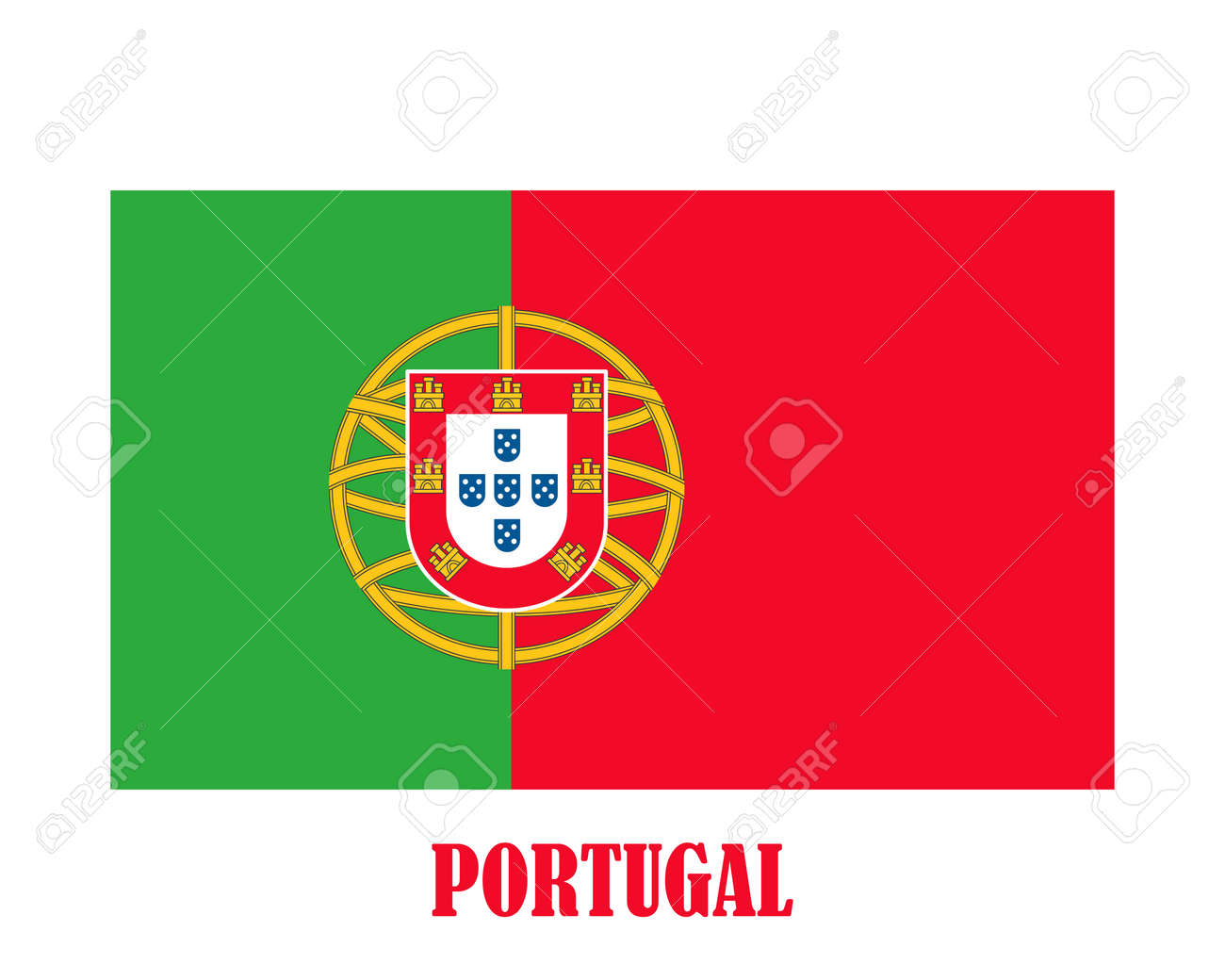 Simple flag of Portugal - 128778581