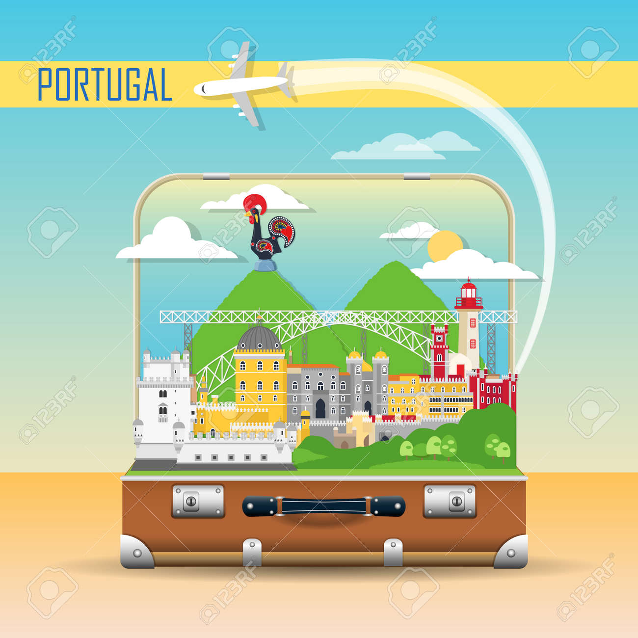 Portugal background with national landmark icons in flat style - 128778656