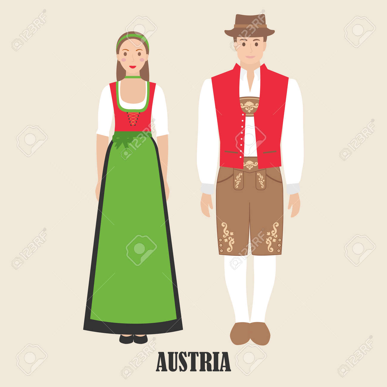 Austrians in national dress. Man and woman in traditional costume. Travel to Austria. People. Vector flat illustration. - 124875423