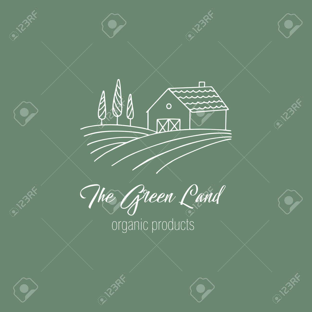 Hand drawn farm in doodle style. Vector illustration - 125710757