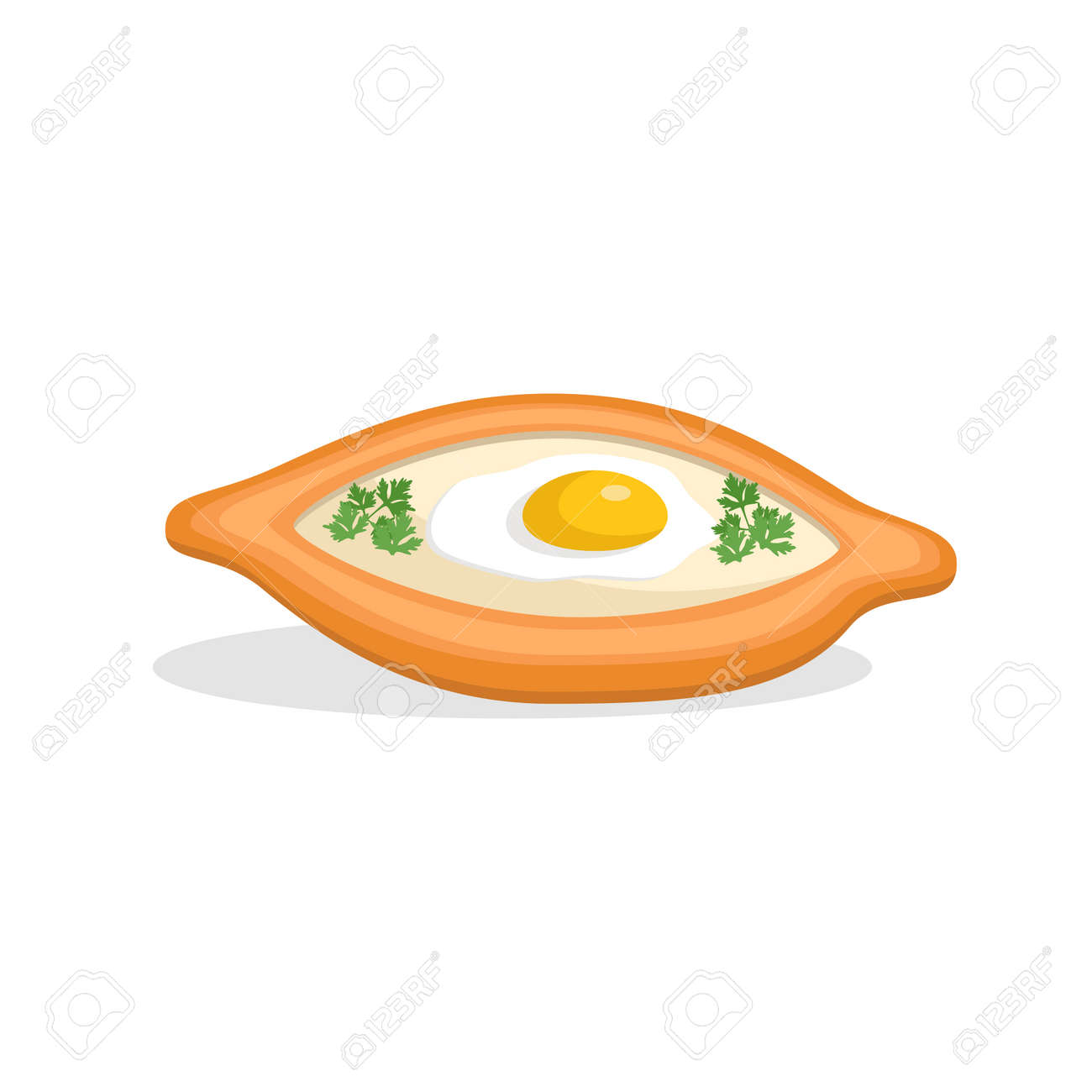Traditional ajarian and georgian dish - khachapuri. Freshly baked flat bread filled with cheese and egg, leaves of parsley on top, isolated on white background. Vector hand drawn illustration. - 128881450