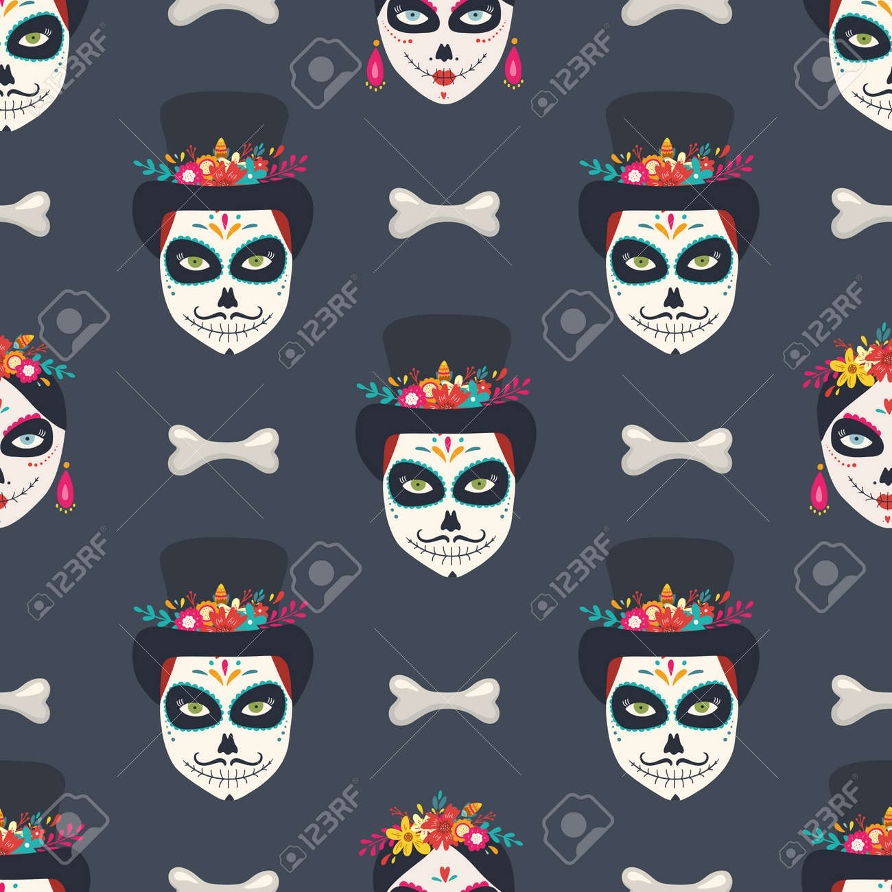 Day of the Dead seamless pattern - 132261195