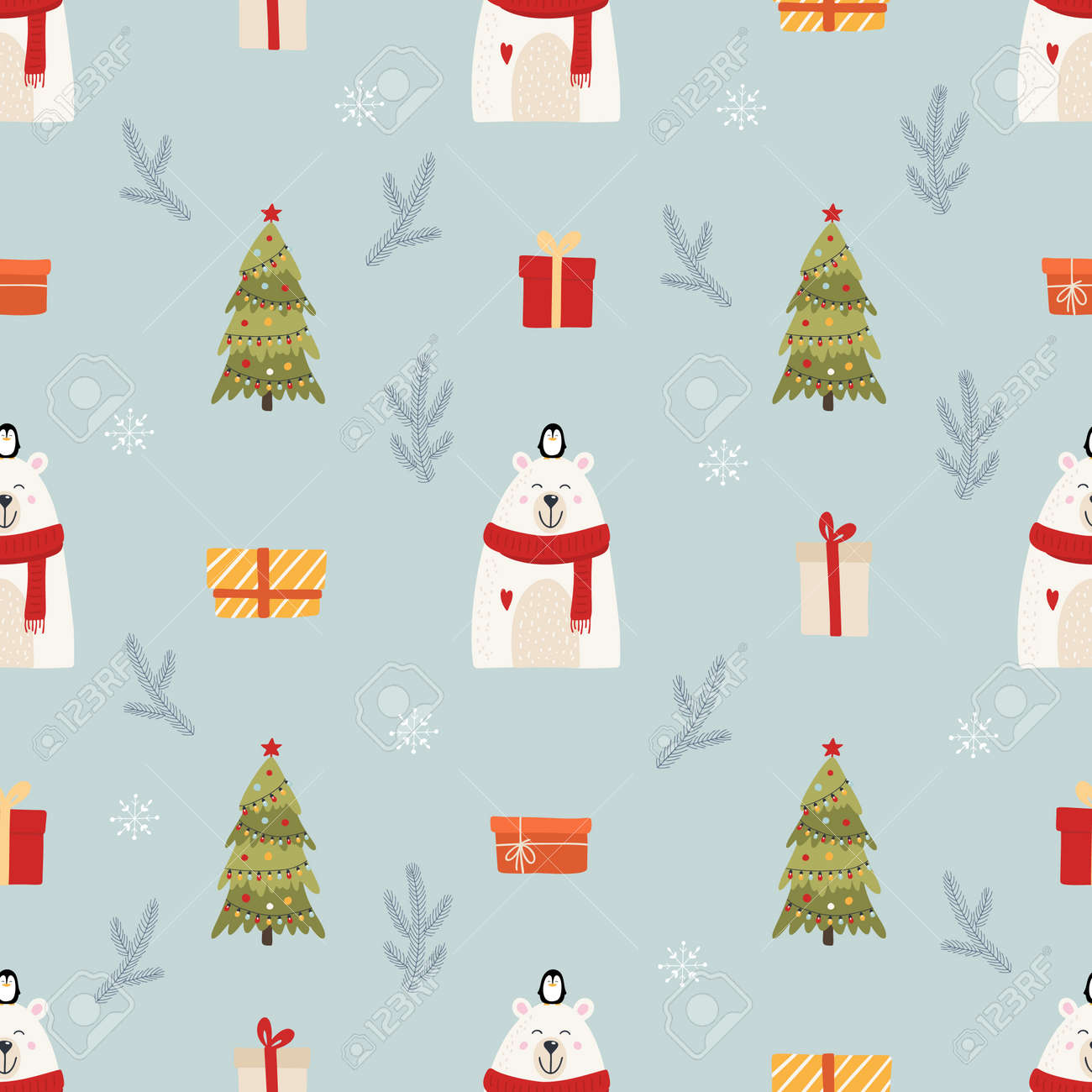 Christmas seamless pattern for background - 134853291