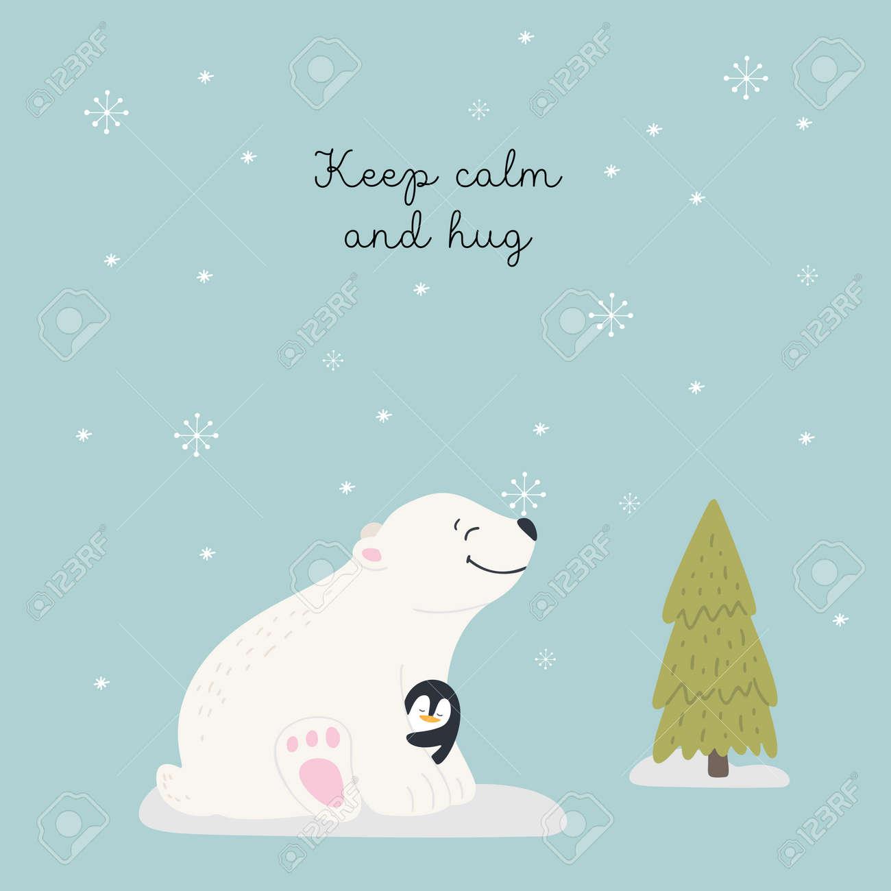Christmas card with animals, hand drawn style. Polar bear and penguin hugsl. Vector illustration. - 132535733