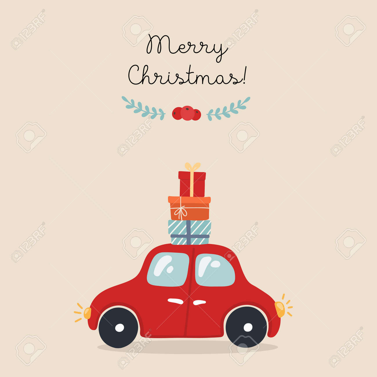 Christmas card with car, hand drawn style. Car with gifts. Vector illustration. - 132539938