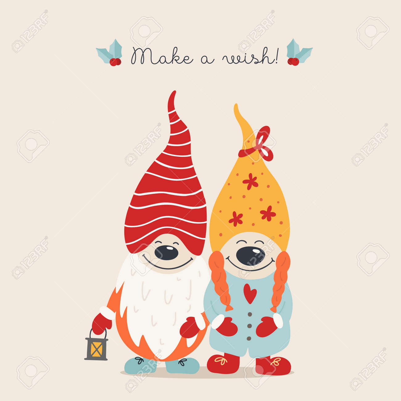 Christmas card with gnomes hugs, hand drawn style. Vector illustration. - 132542537