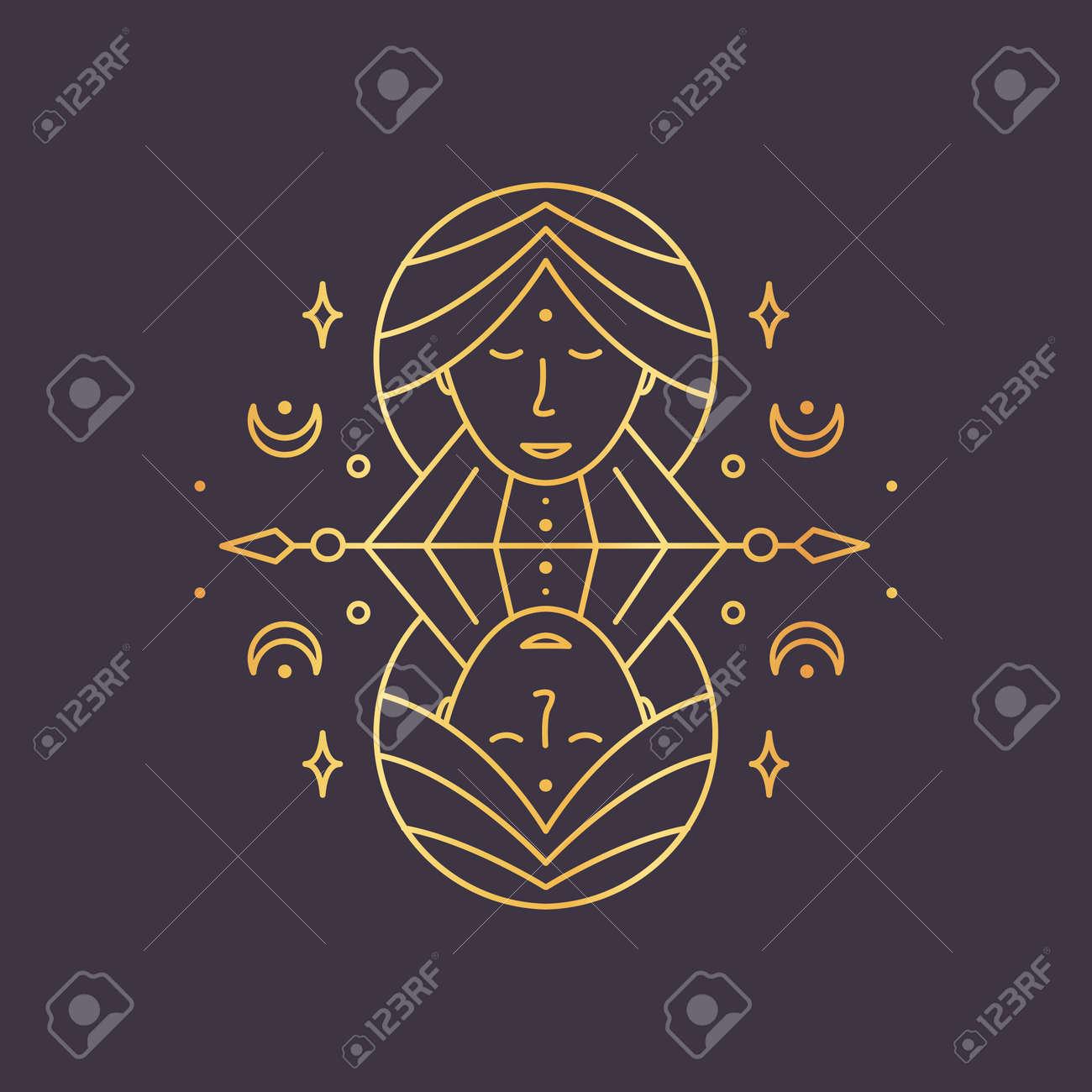 Gemini zodiac sign, horoscope symbol golden. Vector illustration - 135502928
