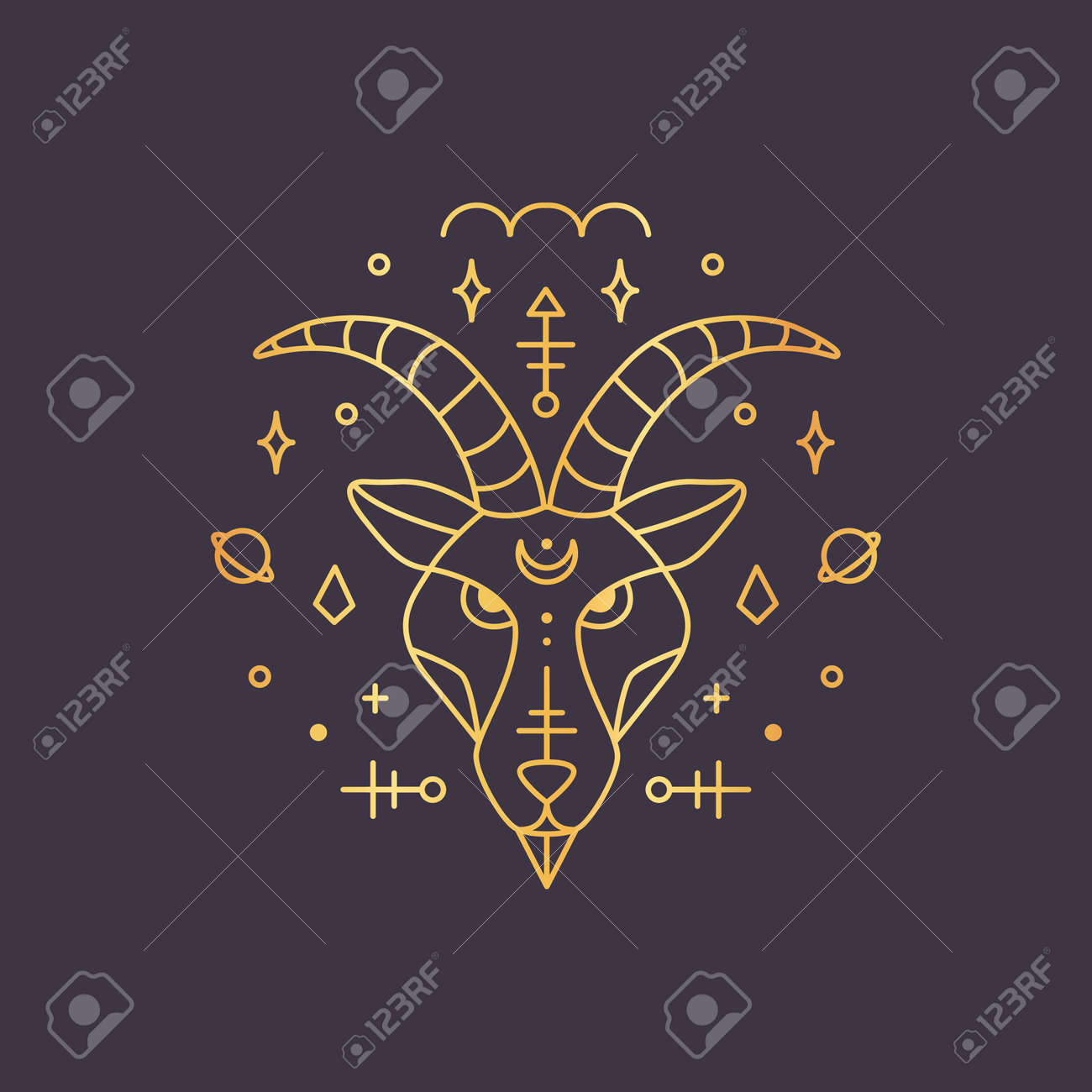 Capricorn zodiac sign, horoscope symbol golden. Vector illustration - 135502935