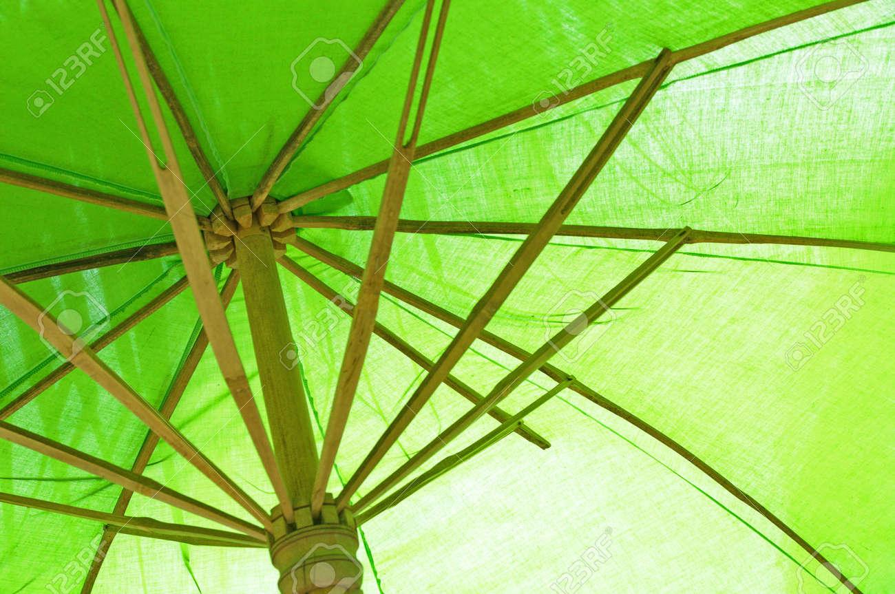 gama completa de artículos mejor amado brillo de color Paraguas de bambú verde bajo la sombra del árbol de coco