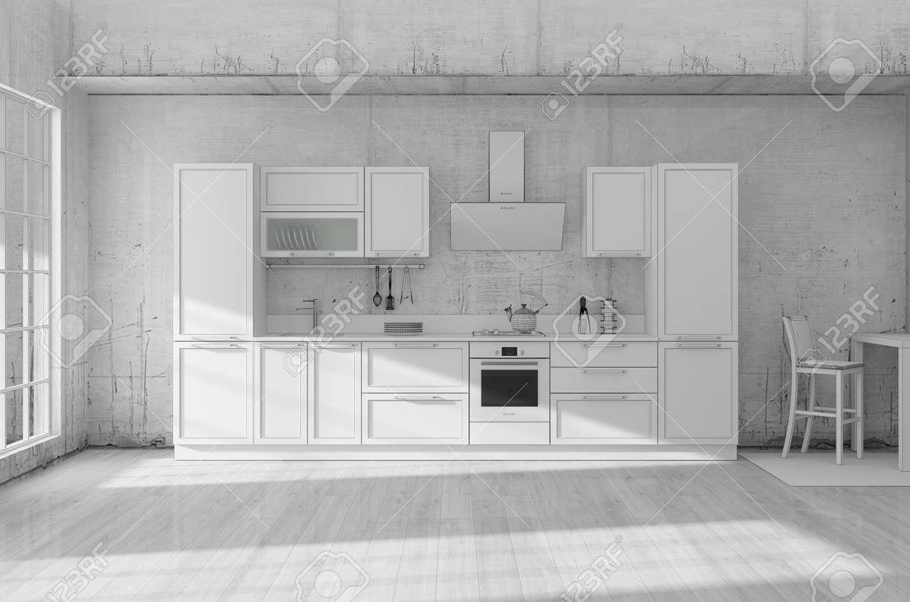 Kitchen interior grid 3D rendering - 146113366
