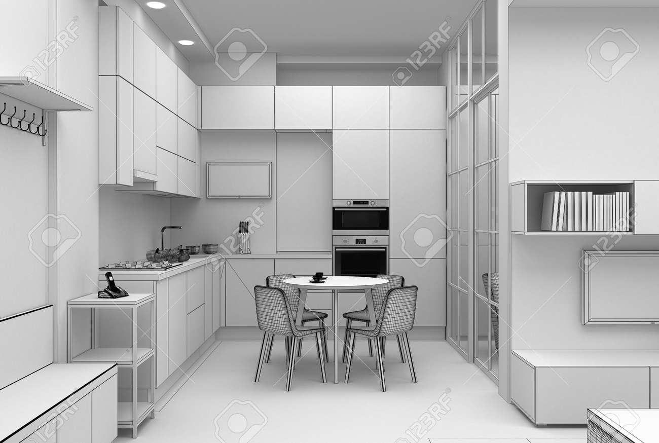 Interior Design Of A Kitchen In Compact Apartment Grid 3d Render Stock Photo Picture And Royalty Free Image Image 146132400