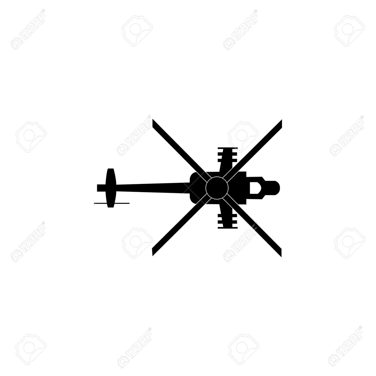 Military helicopter silhouette icon  Military tech element icon