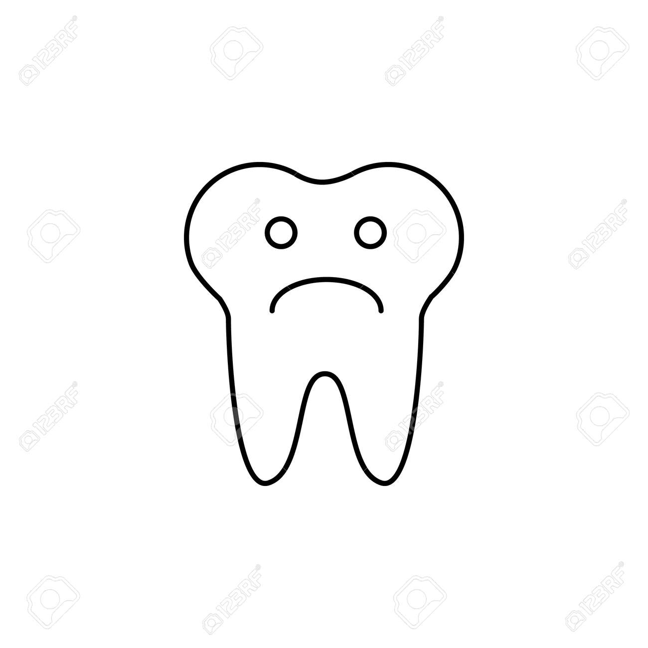 Tooth Sad Face Sign Icon Aching Tooth Symbol Unhealthy Teeth