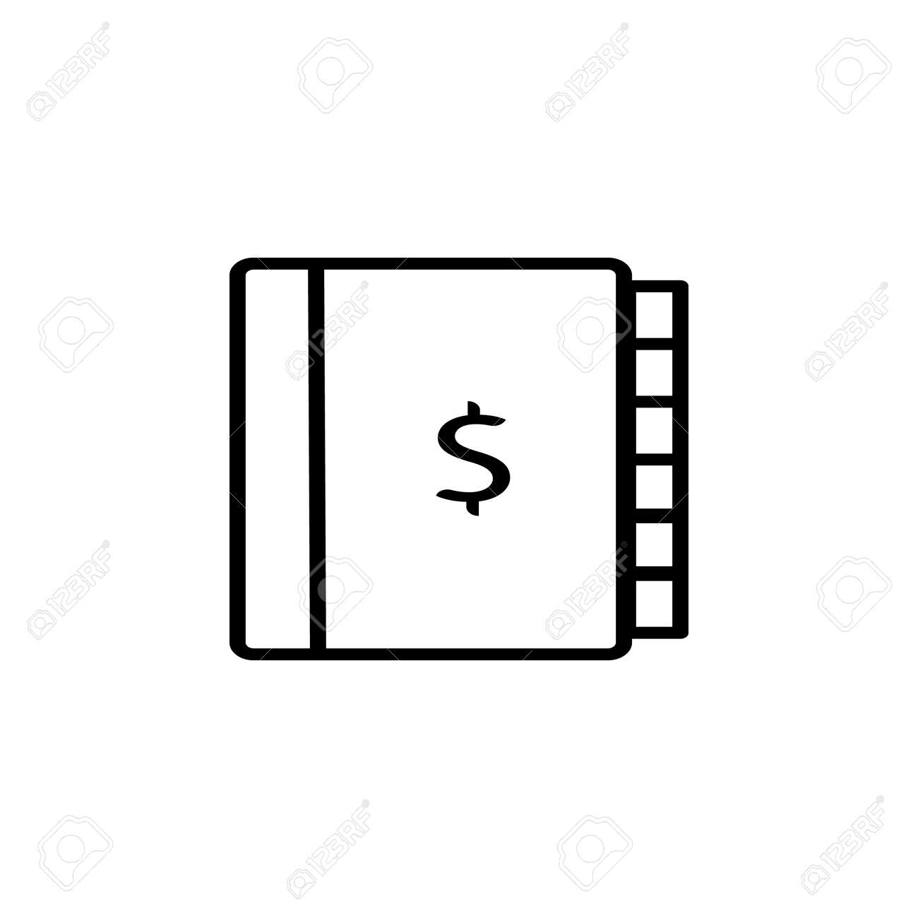 Ledger Dollar Sign Icons On The White Background Stock Vector