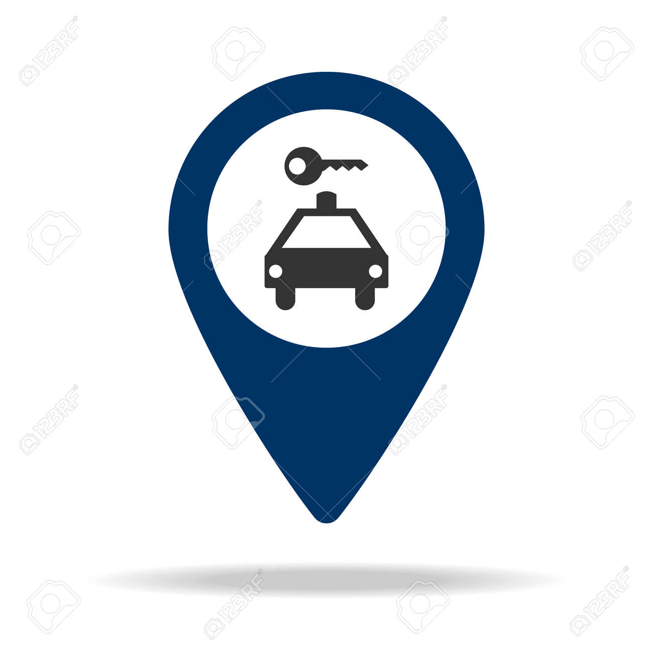 car rental location in blue map pin icon  Element of map point