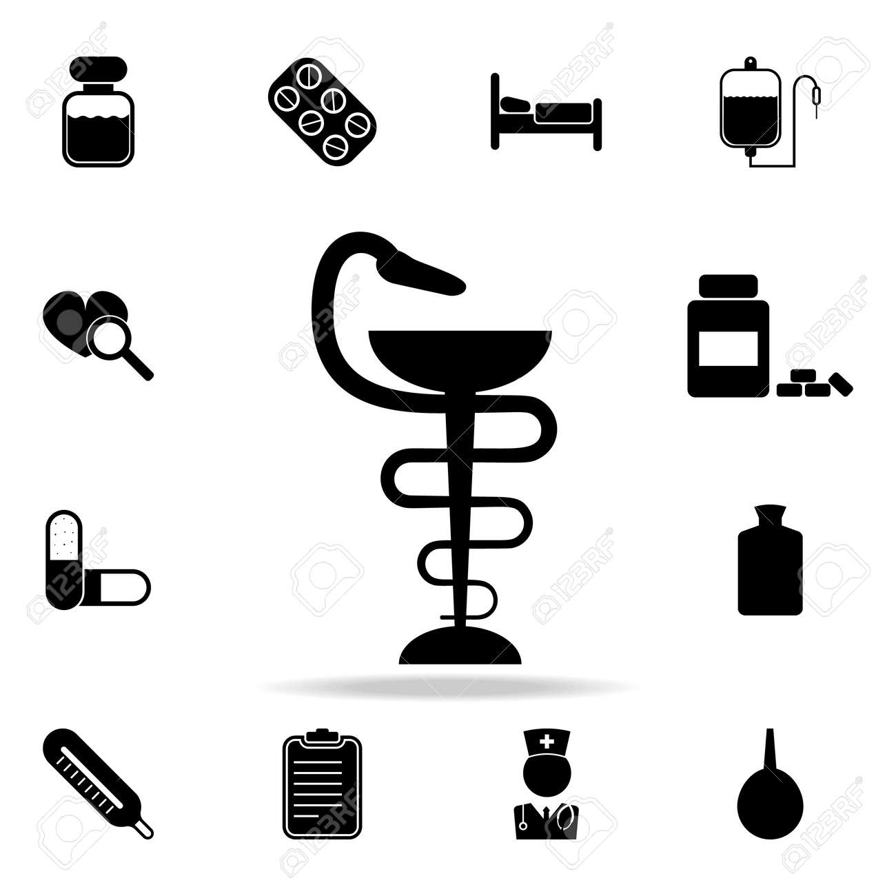 Medical Snake Symbol Icon Set Of Medicine And Hospital Icons