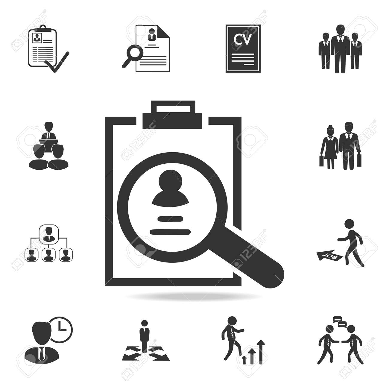 Curriculum Vitae Review Icon Set Of Human Resources Head Hunting