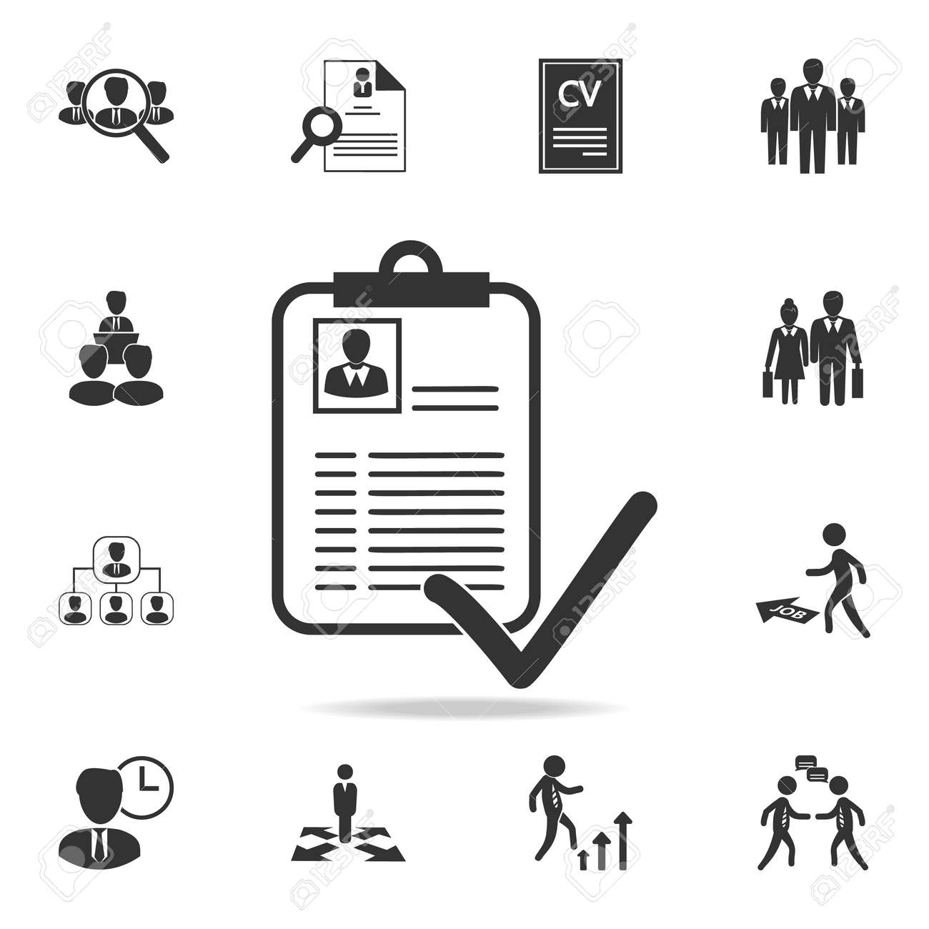 Approved Curriculum Vitae Icon Set Of Human Resources Head
