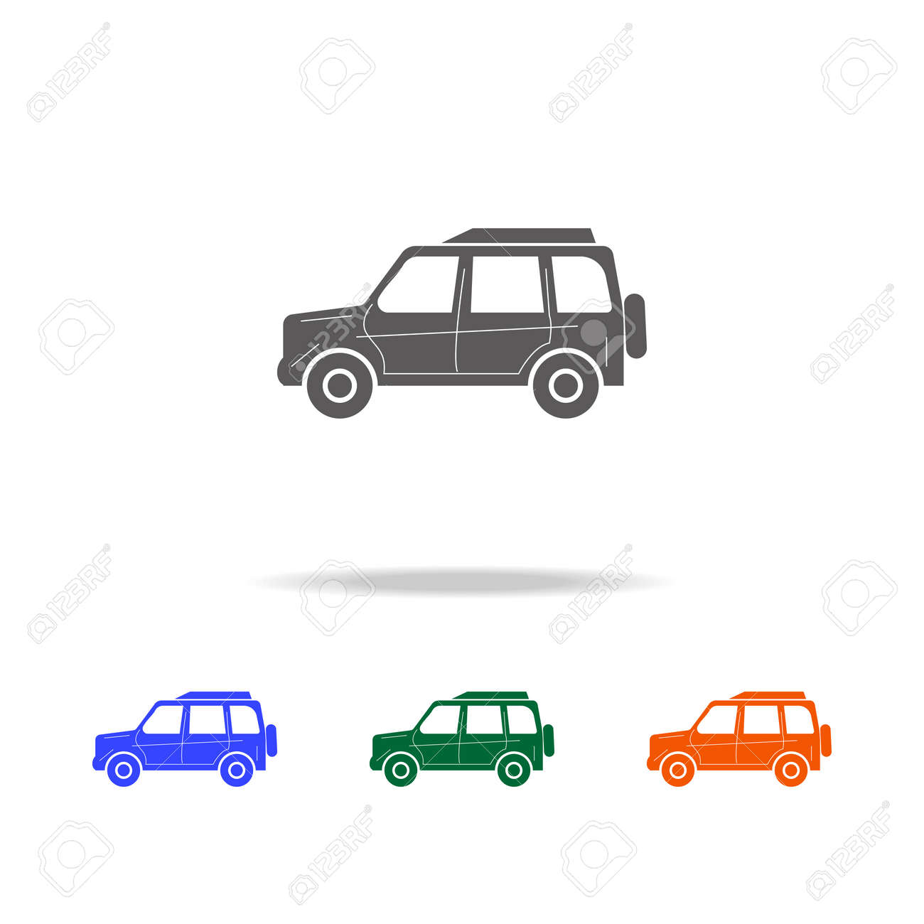 Full Size Luxury Car Icon Types Of Cars Elements In Multi Colored