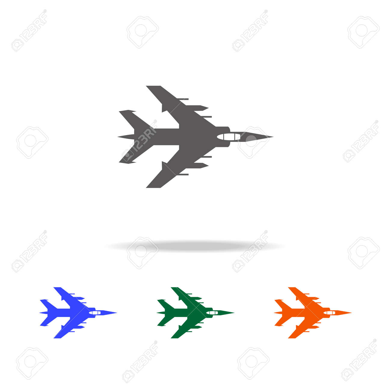 Bombardment plane icon  Elements of military aircraft in multi