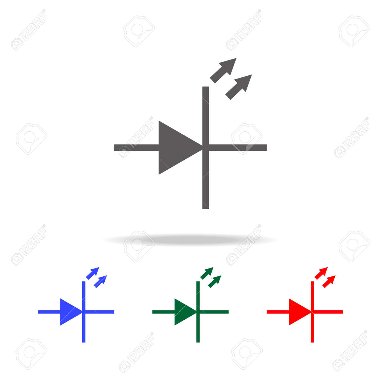 Electronic Circuit Symbol Icon Elements In Multi Colored Icons Design Program Free For Mobile Concept And Web Apps