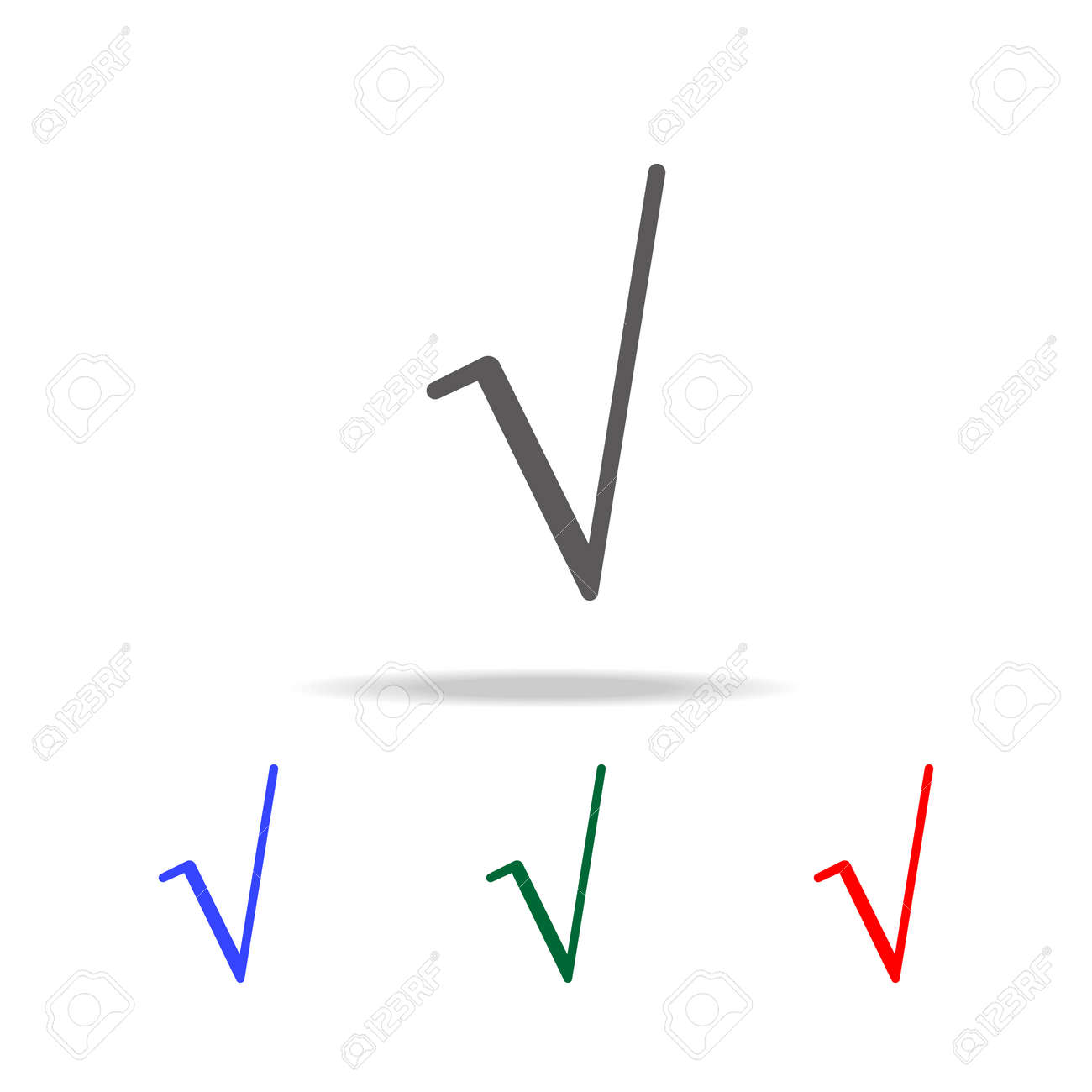 Square Root Symbol Icon Elements In Multi Colored Icons For