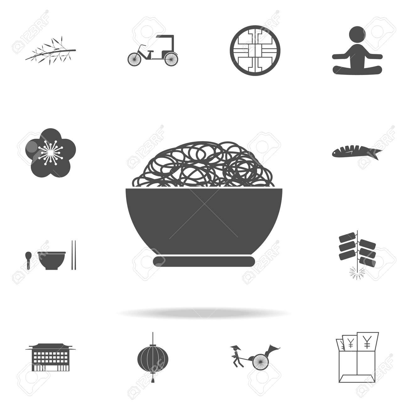 Noodles Icon Set Of Chinese Culture Icons Web Icons Premium