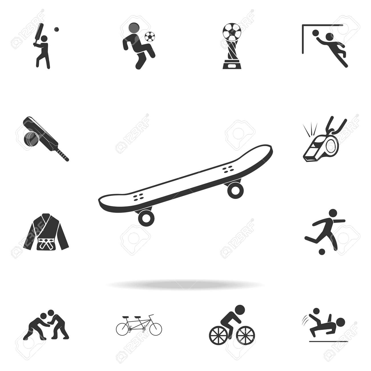 e830d6dc Icon of skateboard. Detailed set of athletes and accessories icons on white  background Stock Vector