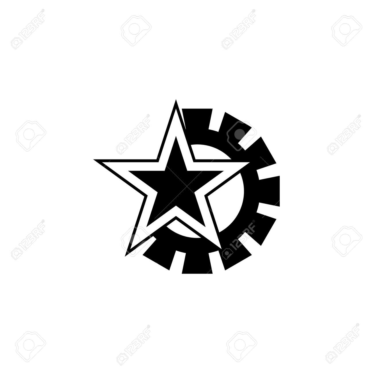 Communist Star And Mechanism Icon Element Of Communism Illustration