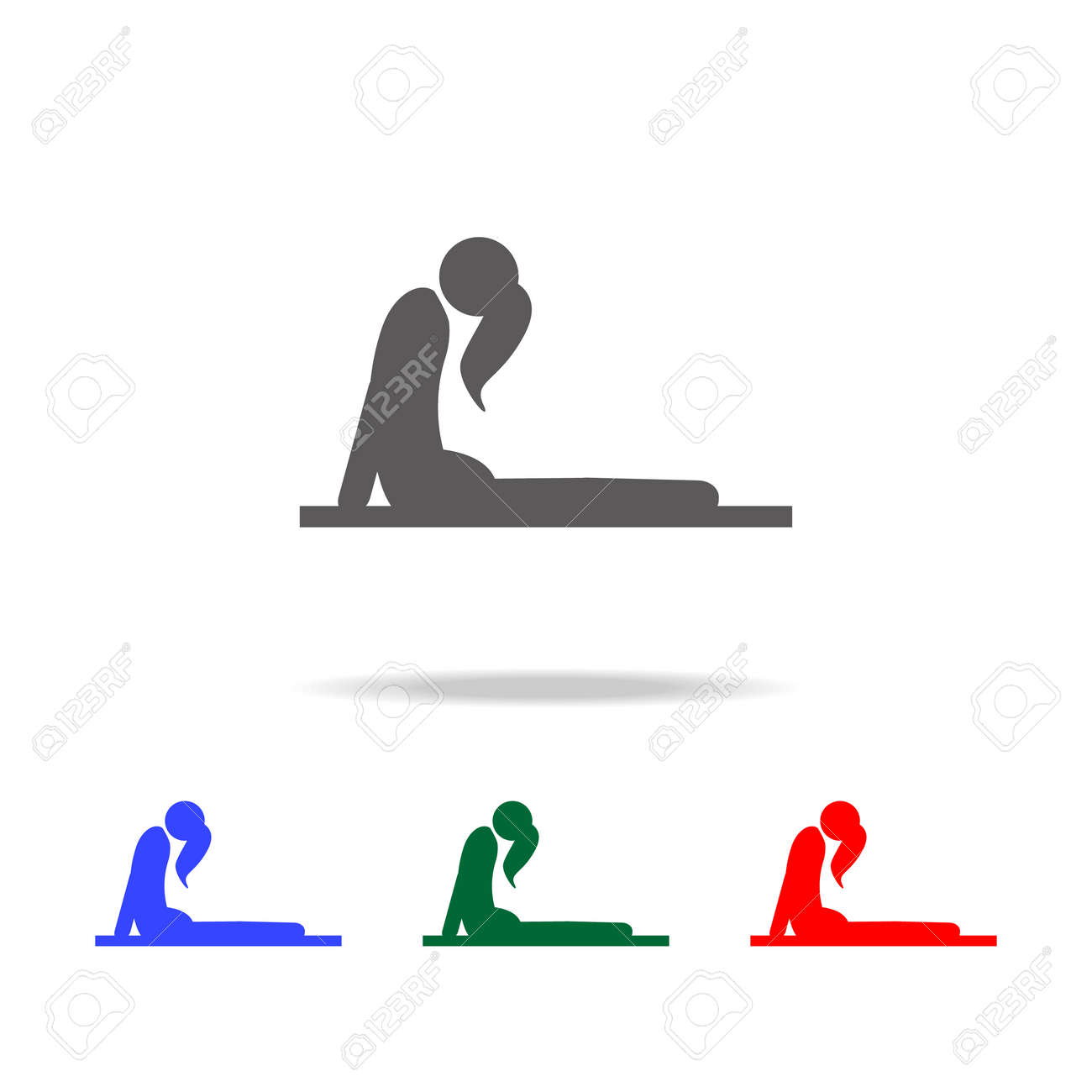 Girl in yoga pose icon  Elements of Indian culture multi colored