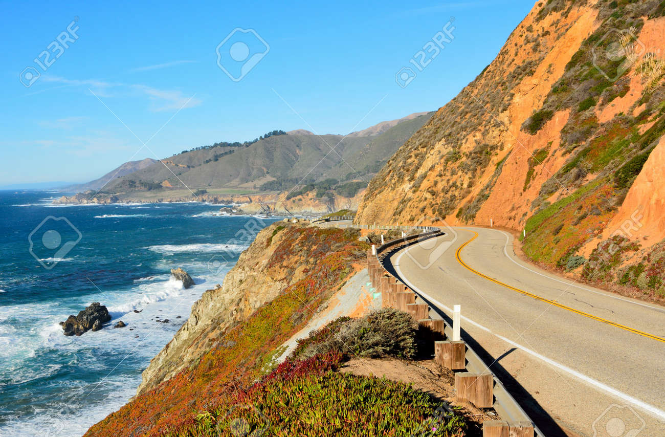 Highway 1 running along Pacific coast in Big Sur state parks in California. - 92516589