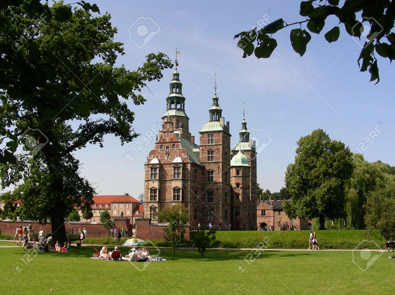 Rosenborg Castle In Copenhagen Seen From Kings Garden Stock Photo
